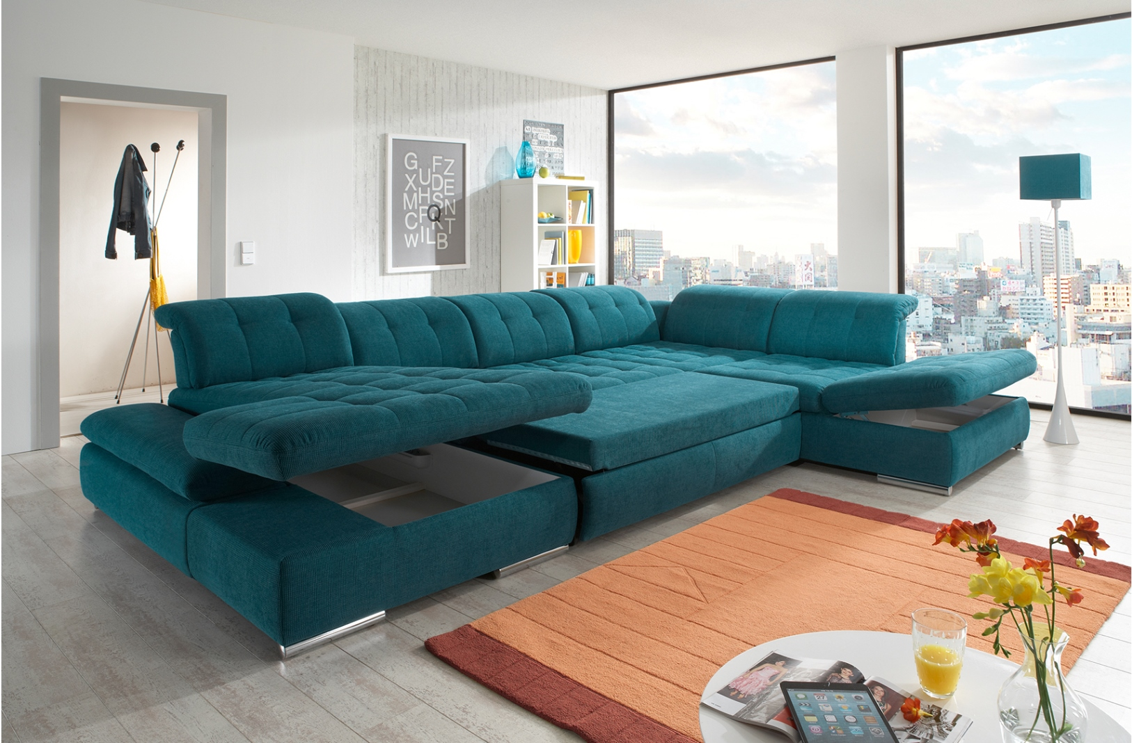 Alpine Sectional Sofa Sleeper With Storage