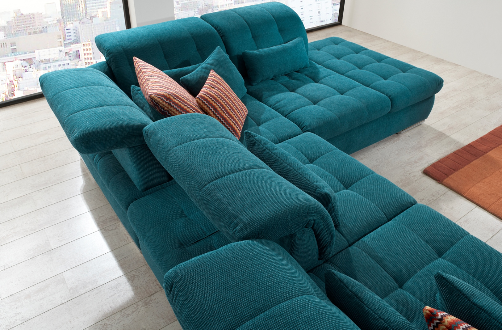 teal sectional sofa sectional sofa 3pc in teal fabric by. Black Bedroom Furniture Sets. Home Design Ideas