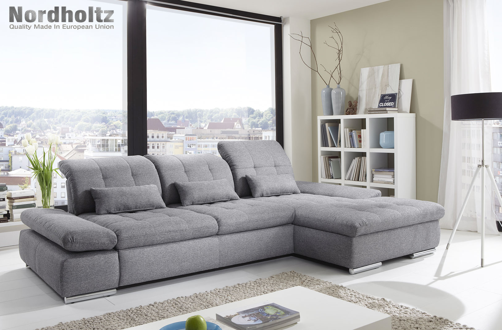 Alpine sectional sofa sleeper with storage for Sectional sofa configurations