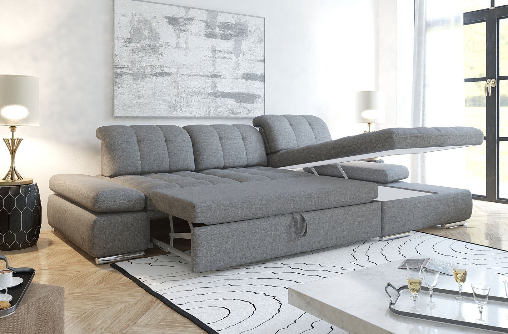 Alpine Sectional Sofa Bed and Storage - photo №14