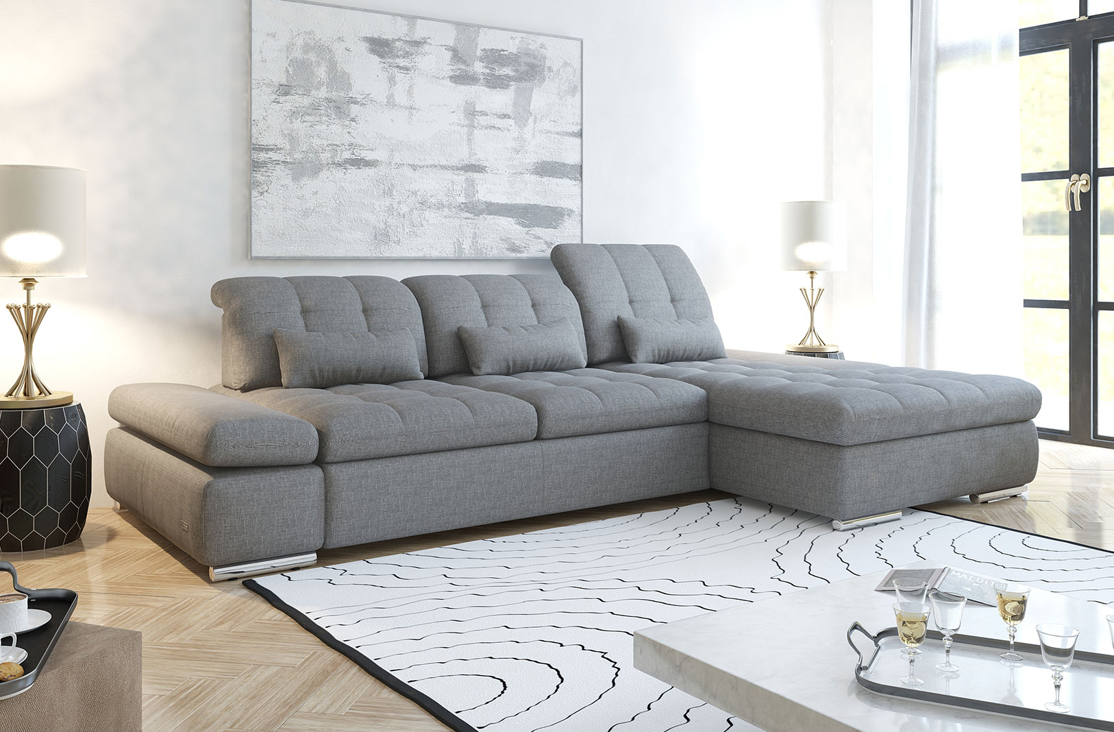 Alpine Sectional Sofa Bed and Storage - photo №13