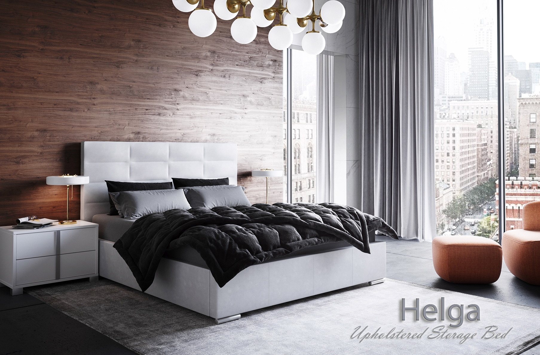 Helga Upholstered Bed, Cheap