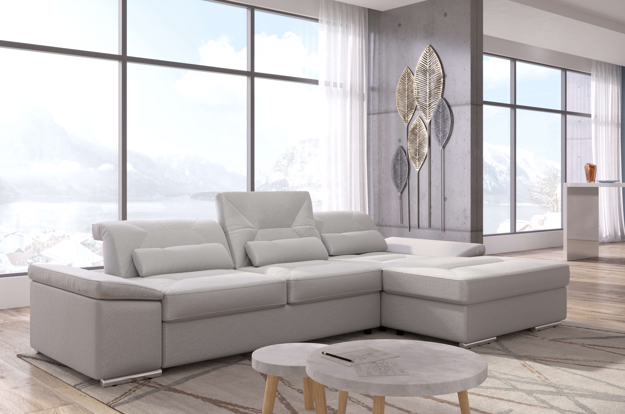 Alpine-X- Grey Fabric Sectional | Nordholtz