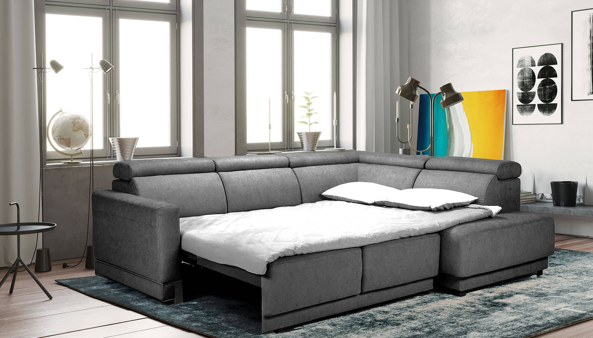 Marburg Sectional Sofa Bed with Storage   Nordholtz Furniture