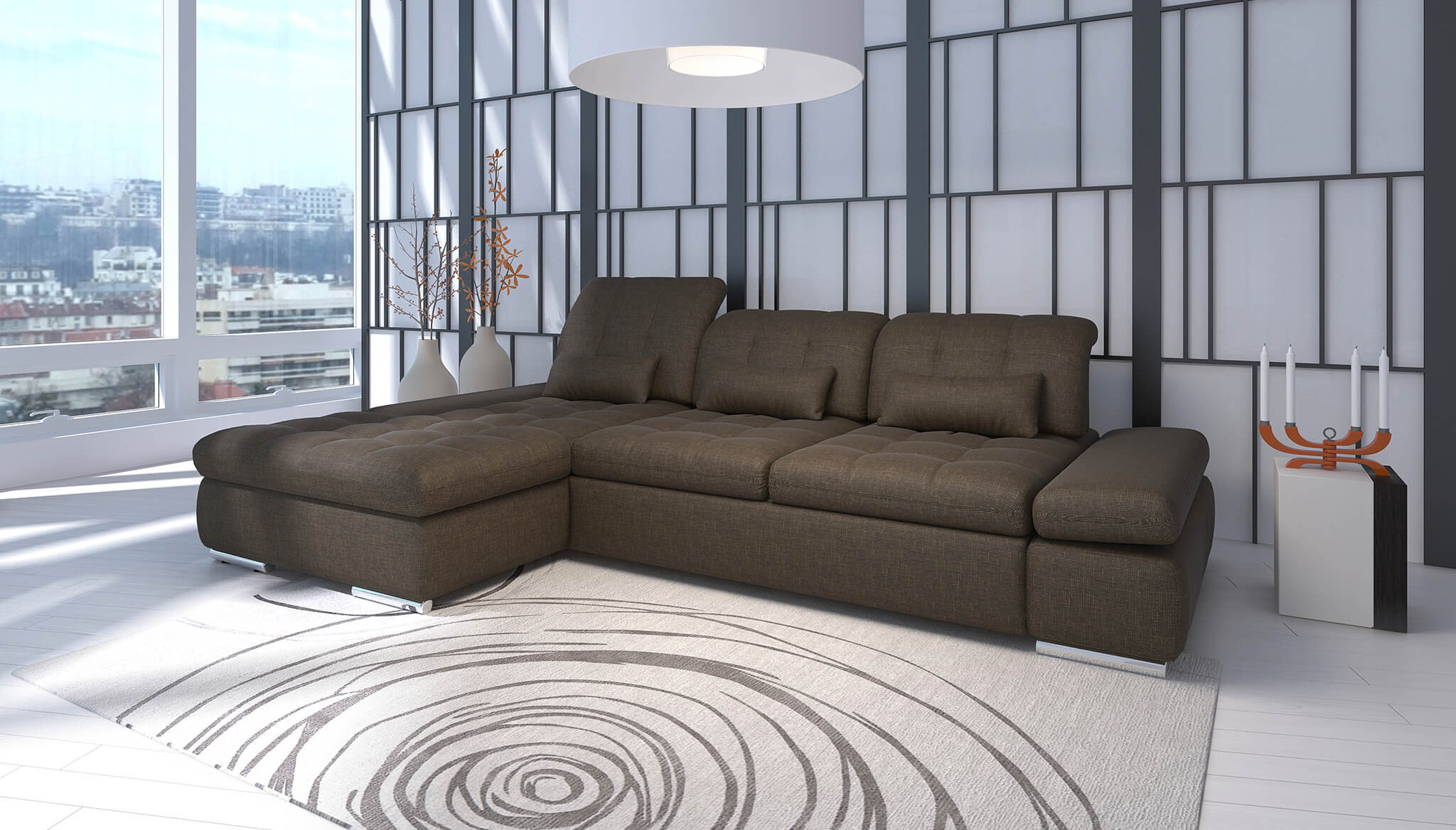 Alpine Brown sectional with Sofa bed   Nordholtz Furniture