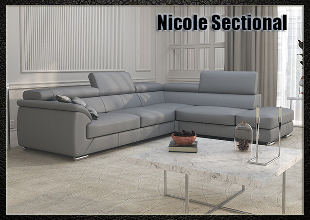 Nicole Grey Leather Sectional
