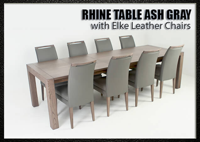 Rhine Ash Gray with Elke Leather Chairs