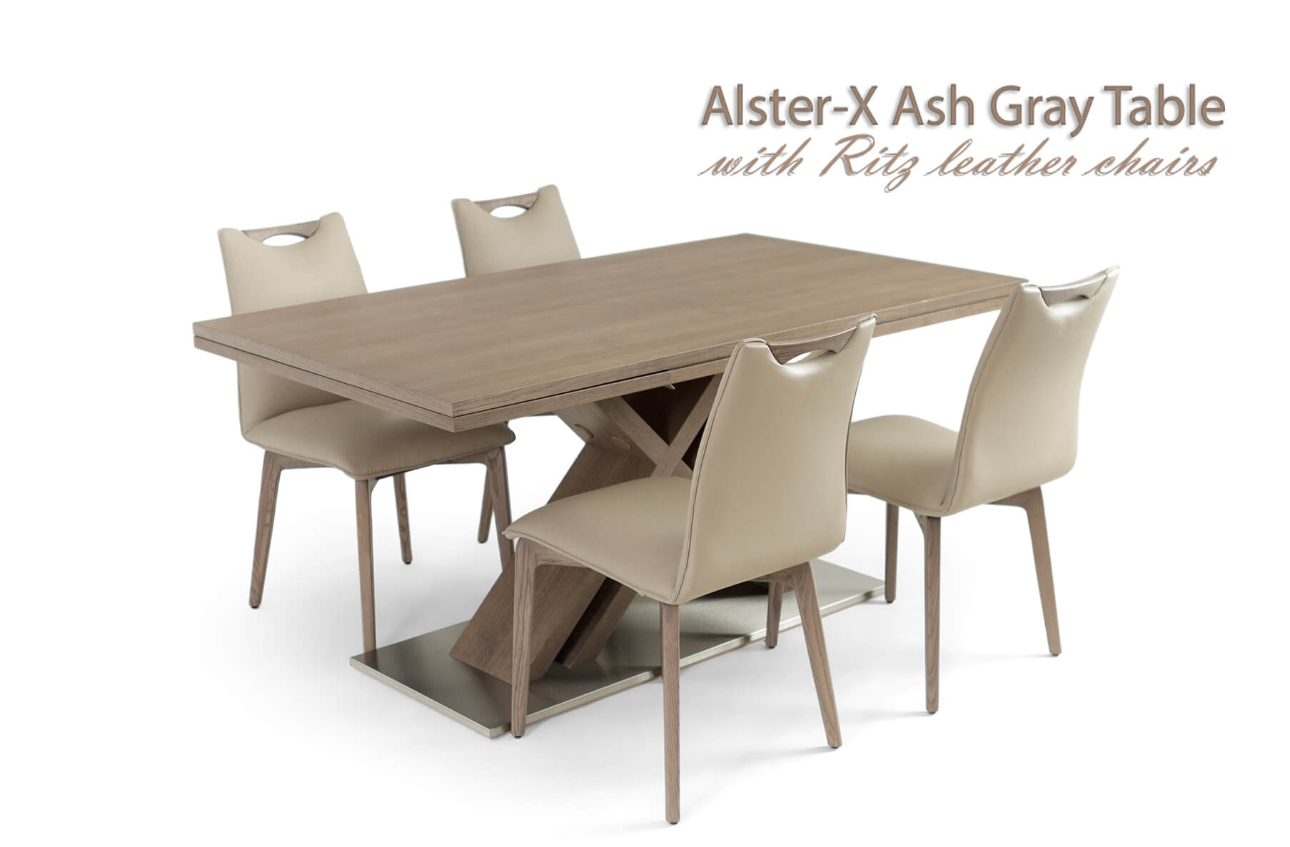 Alster X base table with Ritz leather chairs, Cheap
