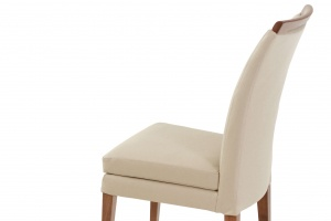 Elke Walnut Beige Leather Chair - photo №10