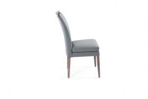 Elke Ash Gray Gray Leather Chair, Online Store