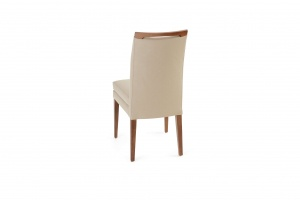 Elke Walnut Beige Leather Chair - photo №7