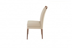 Elke Walnut Beige Leather Chair - photo №6