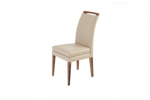 Elke Walnut Beige Leather Chair, Online Store