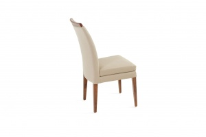 Elke Walnut Beige Leather Chair, In New Jersey