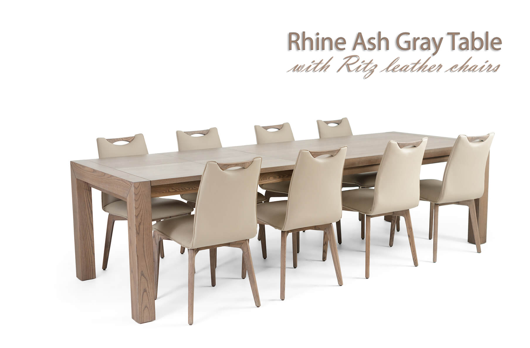 Rhine Ash Gray Table with Ritz Beige Leather Chairs, Cheap