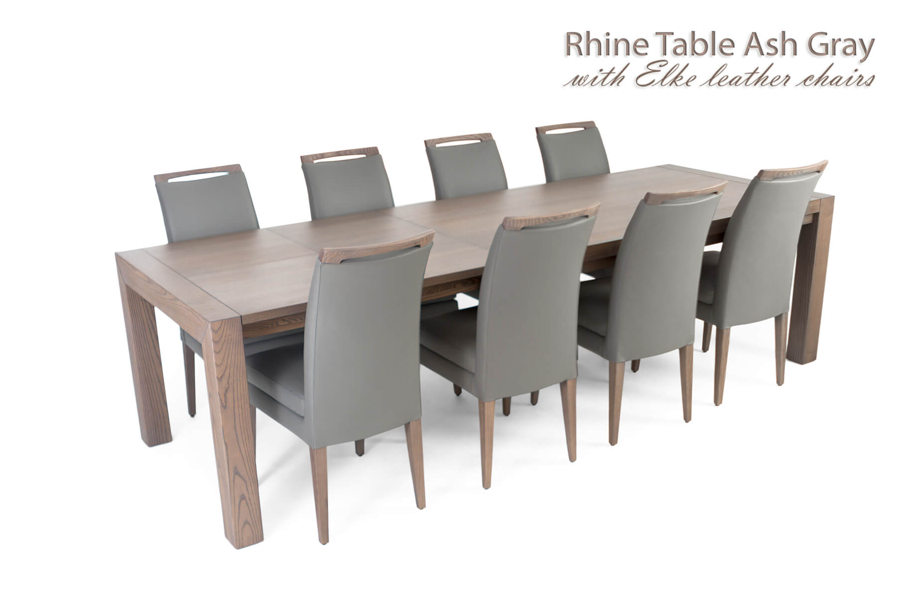 Rhine Ash Gray Table with Elke Leather Chairs, Cheap