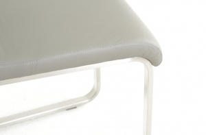 Havel Stainless Steel Gray Leather Dining Chair - photo №6