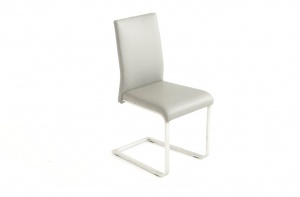 Havel Stainless Steel Gray Leather Dining Chair, Nordholtz