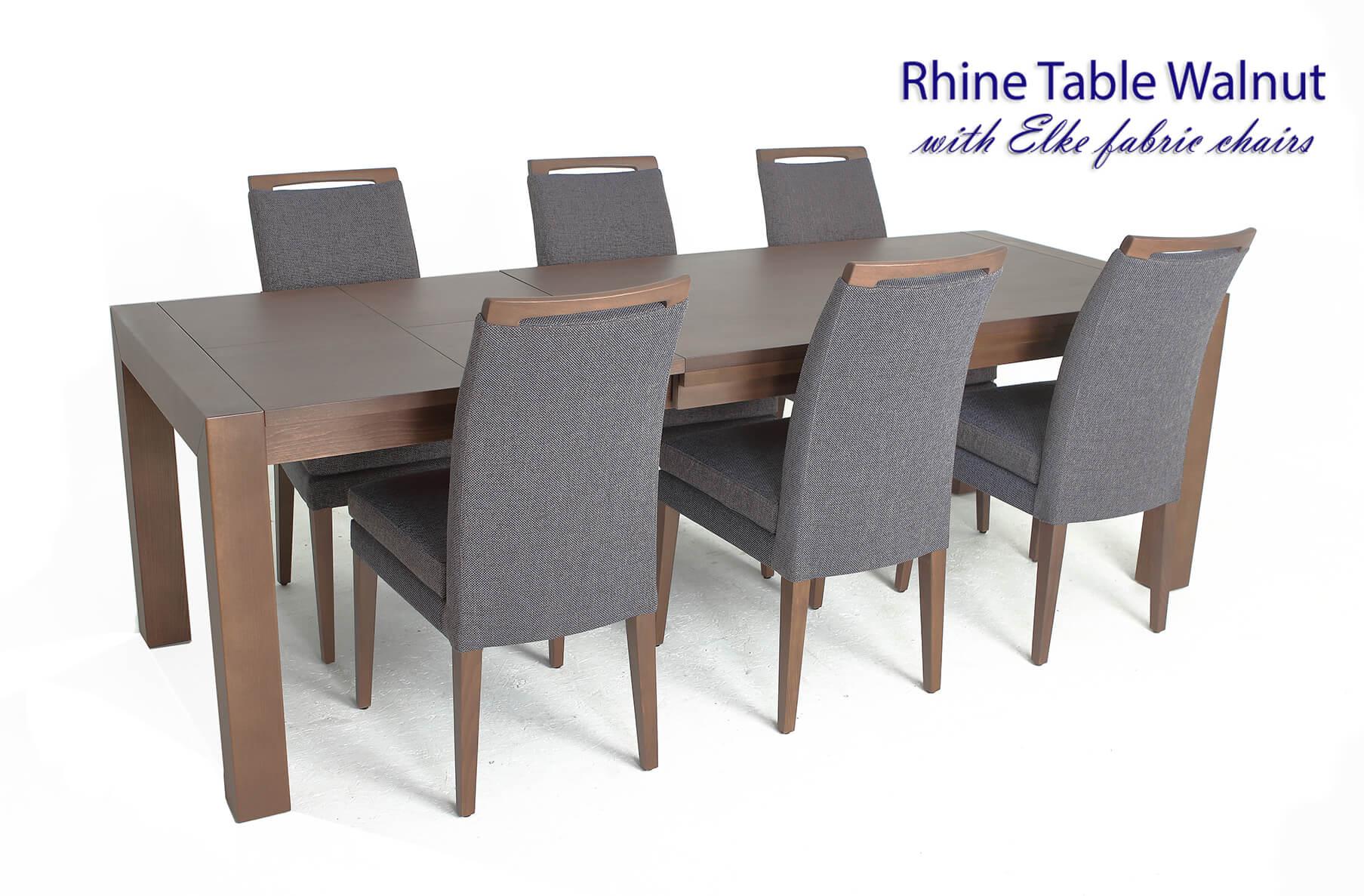 Rhine Walnut Table with Elke fabric chairs, Cheap